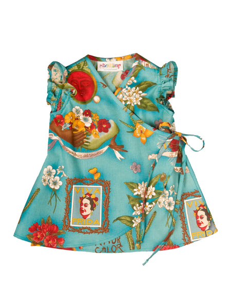 Infant Kimono Wrap Dress - Teal Frida