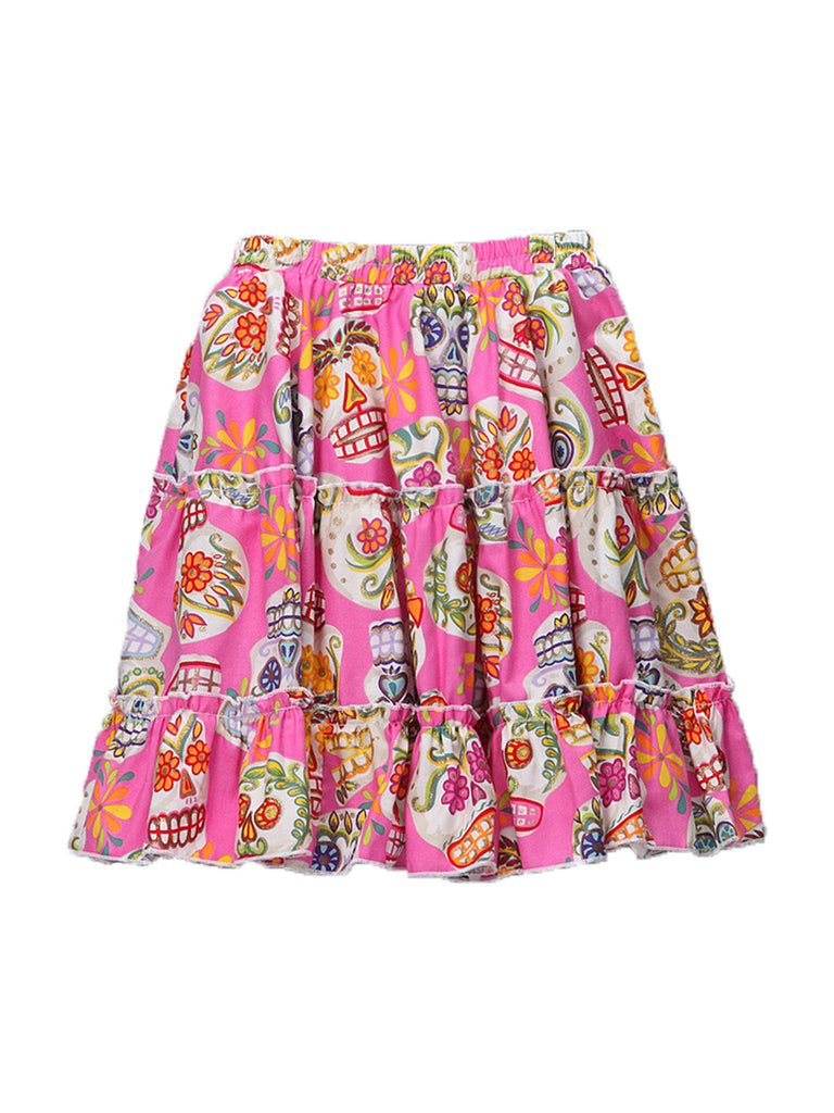 Ruffled Skirt - Pink Sugar Skulls with Glitter