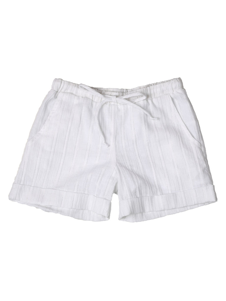 Girl Shorts - White/Silver Stripe Print