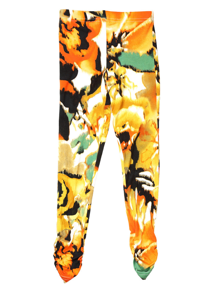 Ruched Legging - Orange/Black/Green Floral Print