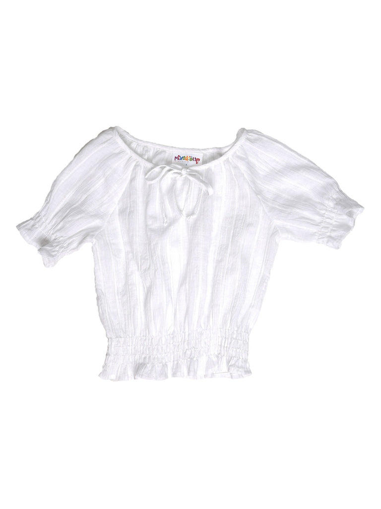 Peasant Top - White/Silver Stripe Print