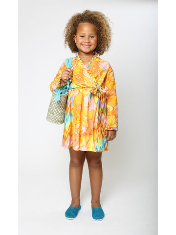 Latin-Inspired Little Girls Floral Mock Wrap Dress (Orange/Blue)