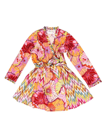 Mock Wrap Dress - Pink/Orange Floral Print