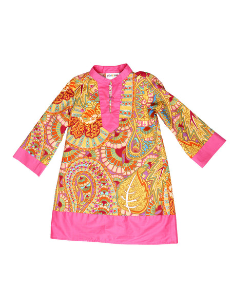 Indian Inspired Print Dress - Pink/Orange Paisley Print