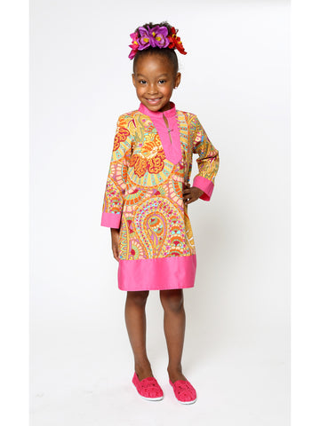 Indian-Inspired Little Girls' Paisley Print Dress (Pink/Orange)