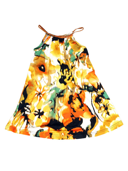 Goddess Dress - Orange/Black/Green Floral Print