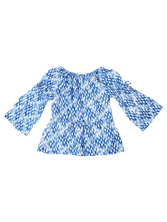3/4 Sleeve Peasant Top - Bliue/White Ikat Print