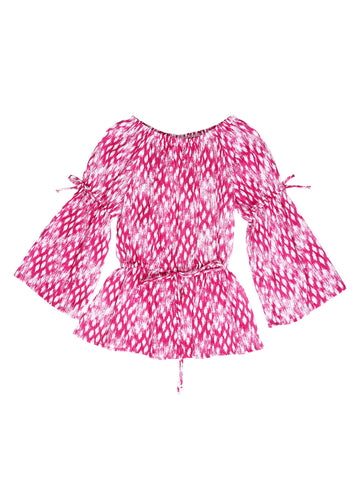 3/4 Sleeve Peasant Top - Pink/White Ikat Print