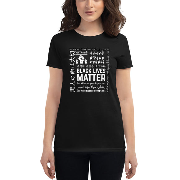 Ladies Black Lives Matter Multi-Lingual T-Shirt - Black