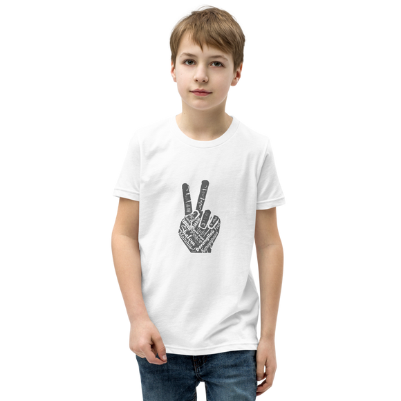 Boys Youth Short Sleeve T-Shirt - Multi-Lingual Peace Hand