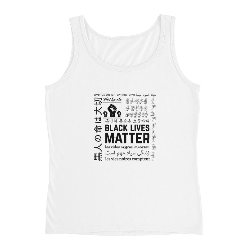 Ladies Black Lives Matter Multi-Lingual Tank - White