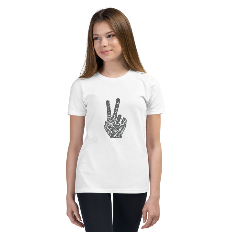 Girls Youth Short Sleeve T-Shirt - Multi-Lingual Peace Hand