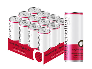 Rejuvenation Water plant-based recovery, amino acid & electrolyte drink - sparkling - Cherry & Cranberry