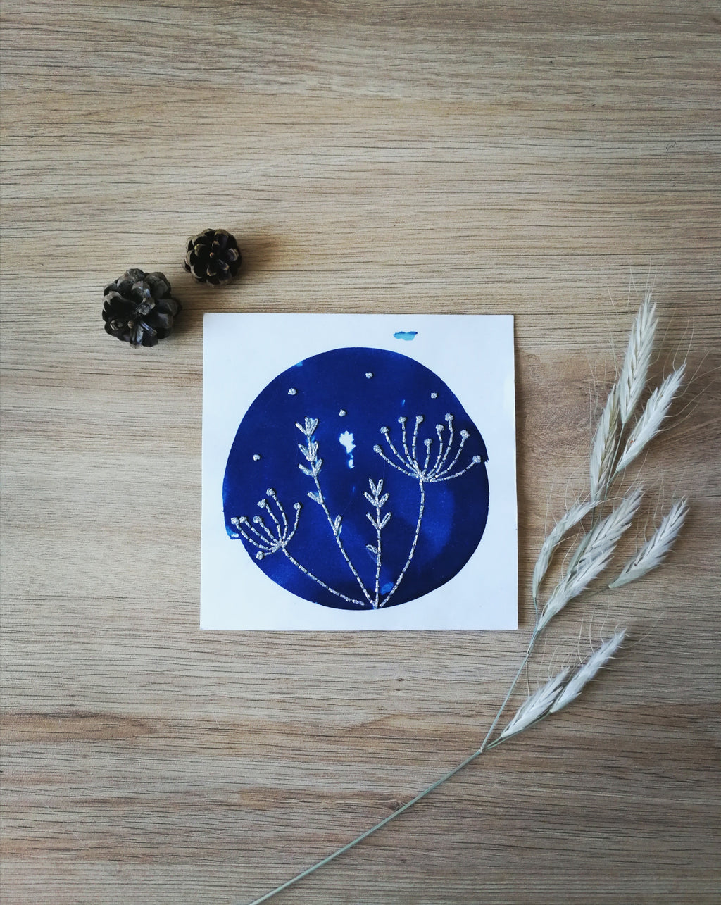 "Cyanotype brodé ""Nature"""