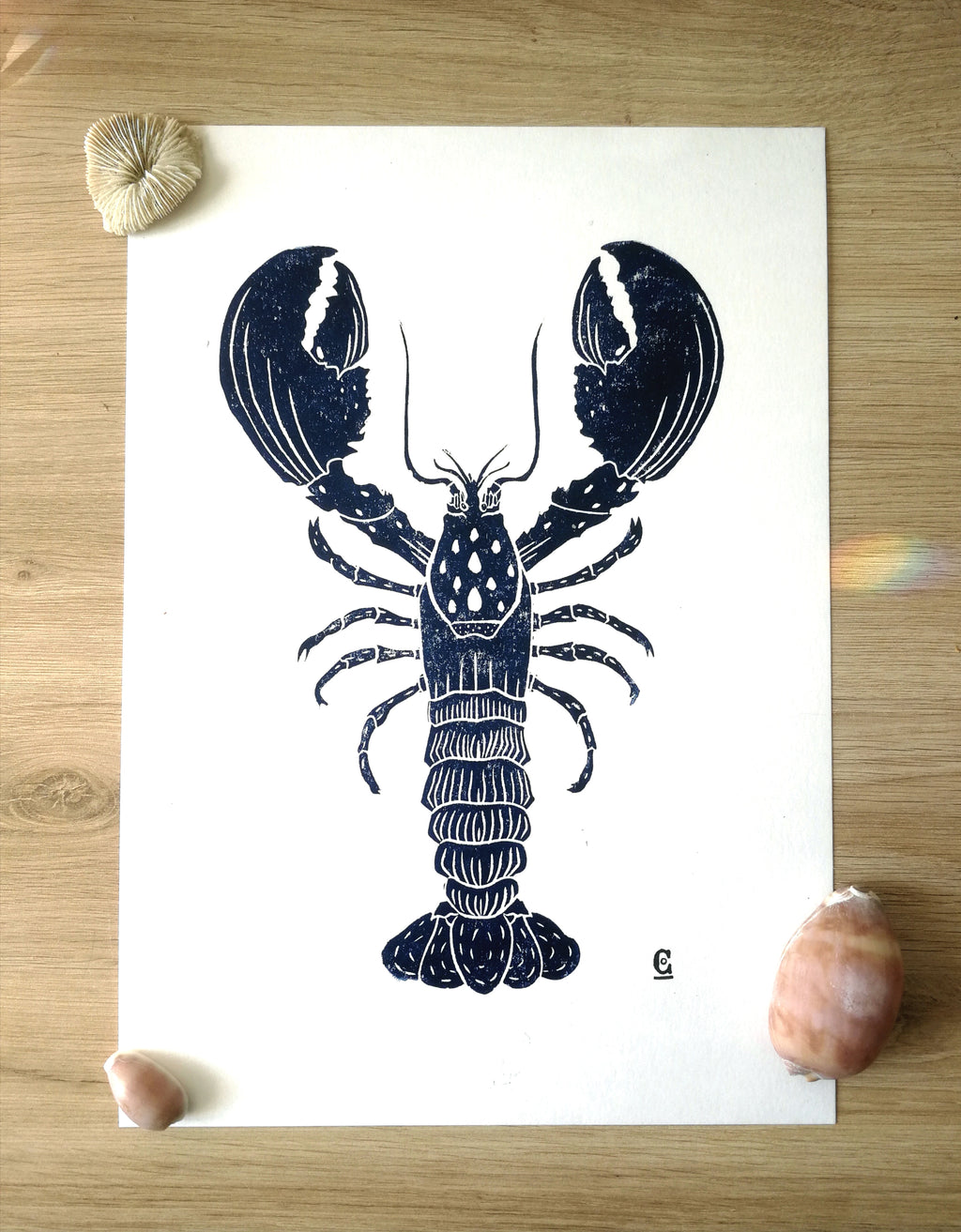 "Illustration linogravure ""Homard"""