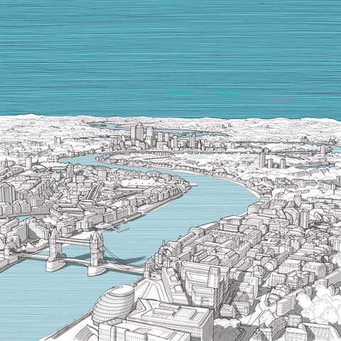 London Art - View from the Shard - Blue