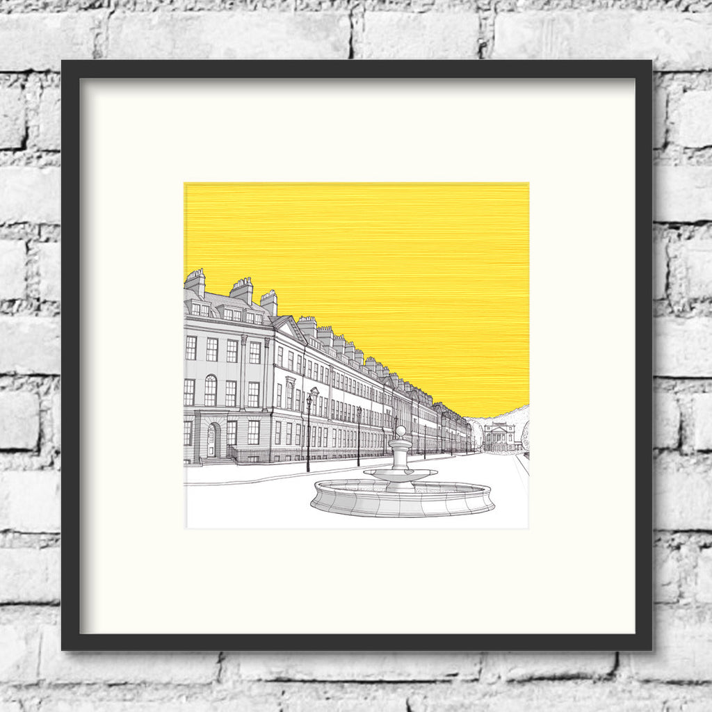 Bath-great-pulteney-street-gold-print-illustration