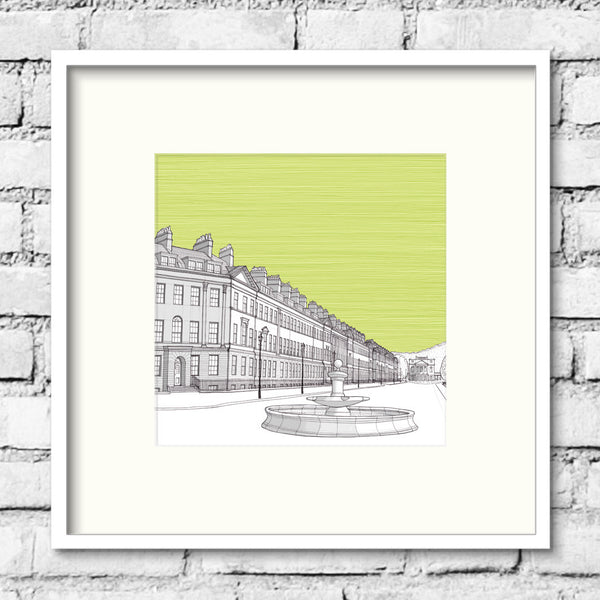 Bath-great-pulteney-street-green-print-illustration
