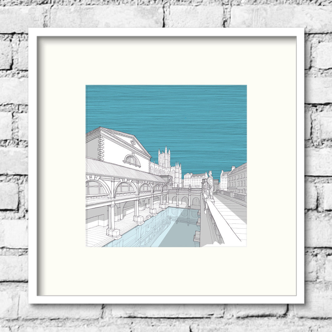 Bath-roman-baths-blue-print-illustration