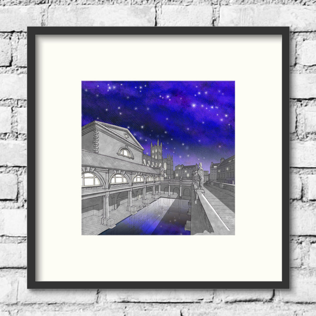 Bath-roman-baths-night-print-illustration
