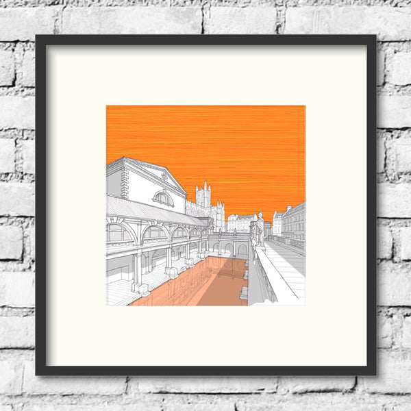Bath-roman-baths-orange-print-illustration