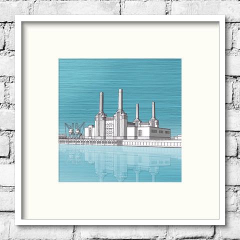 London Art - Battersea Power Station - Blue