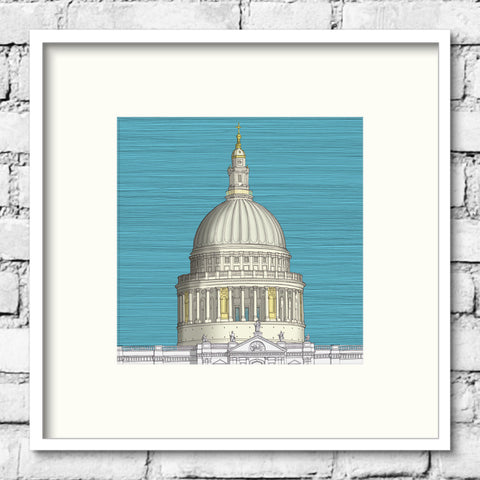 London Art - St. Paul's Cathedral - Blue Sky