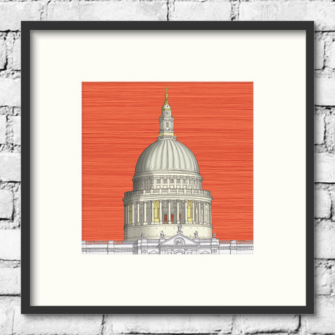 London Art - St. Paul's Cathedral - Red Sky