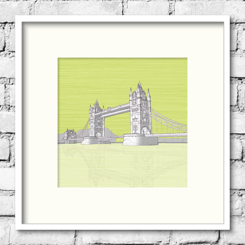 London Art - Tower Bridge - Green Skies