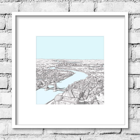 London River Thames Print - Clear Sky