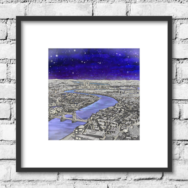 London River Thames Print - Night Sky