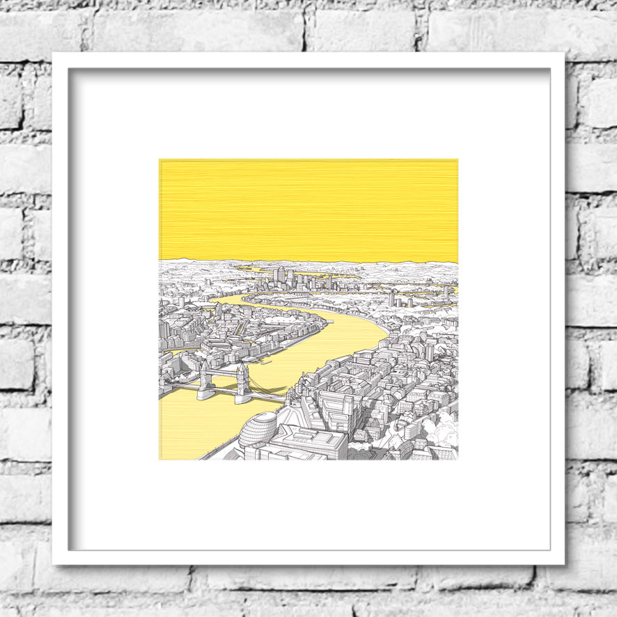 London River Thames Print - Yellow Sky