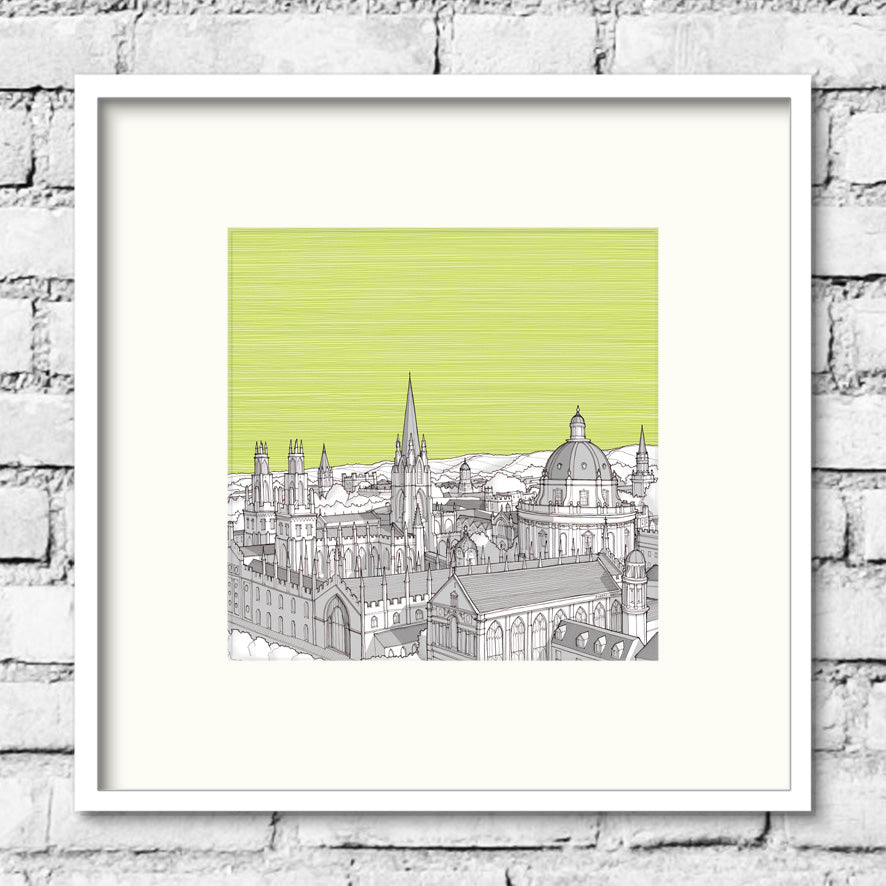 Oxford Spires Print - Green Skies