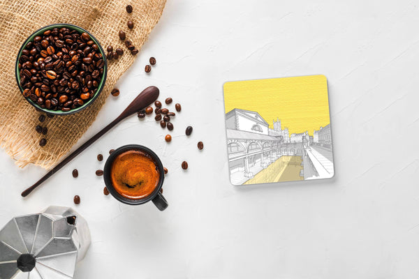 Roman Baths, Bath - Drink Coaster - Yellow