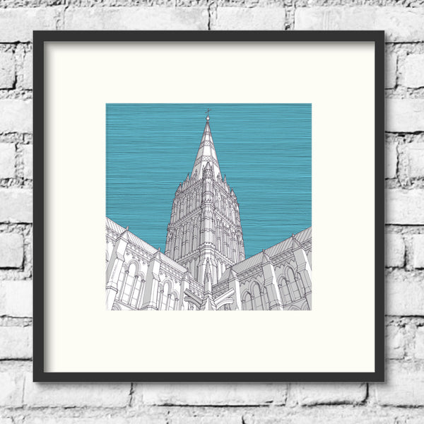 Salisbury-cathedral-blue-art-print-illustration