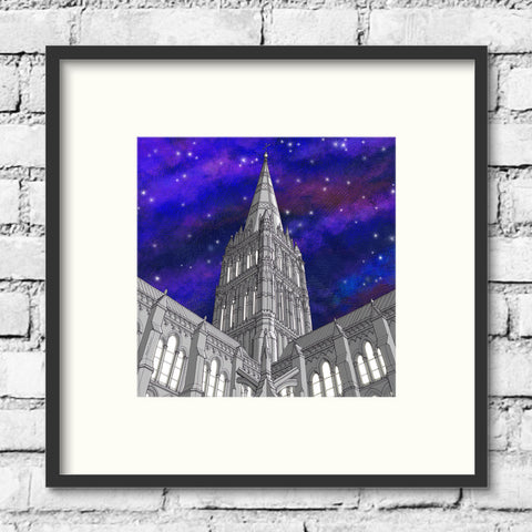 Salisbury Art - Salisbury Cathedral - Night Sky