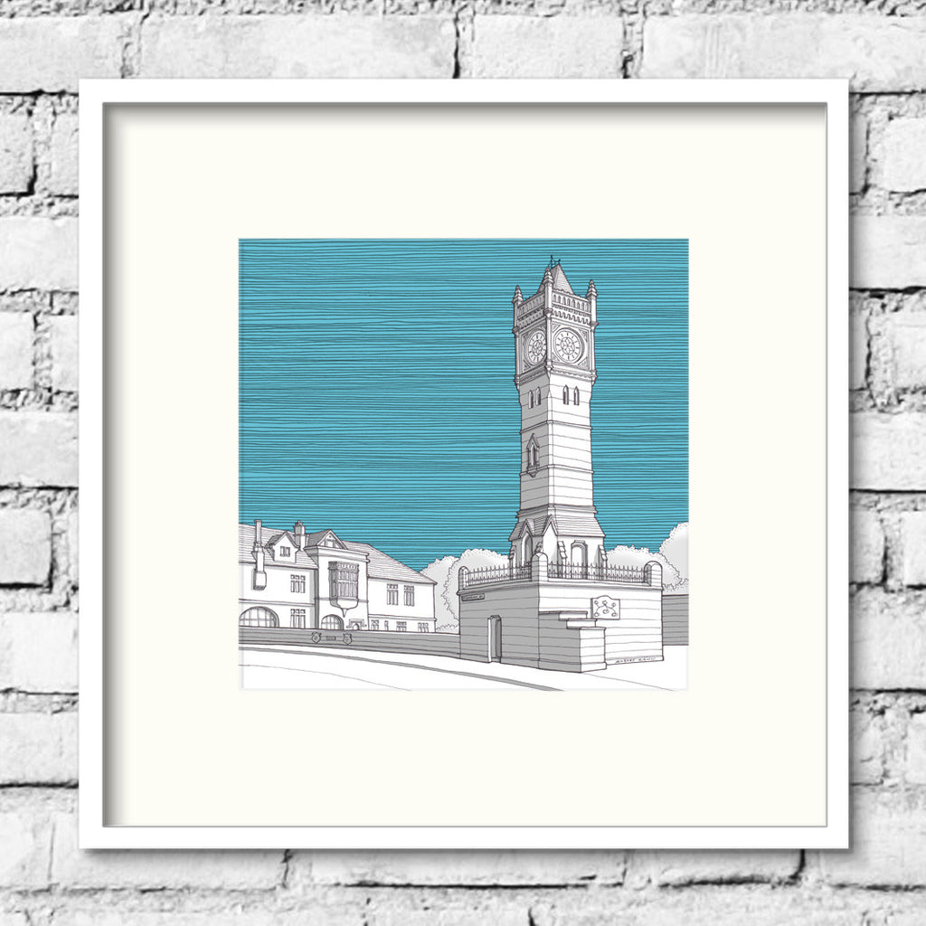 Salisbury-Fisherton-street-clock-blue-art-print-illustration