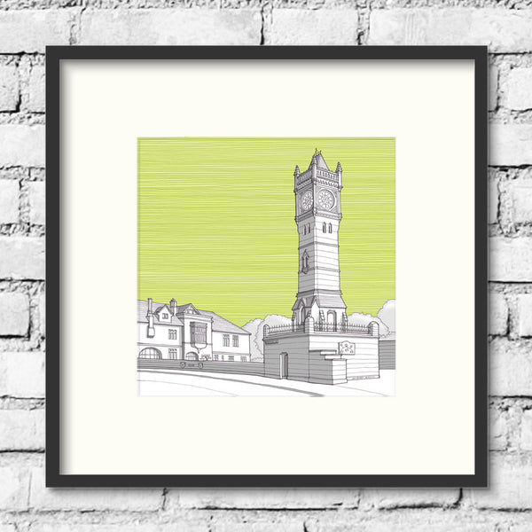 Salisbury-Fisherton-street-clock-green-art-print-illustration