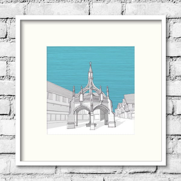 Salisbury-poultry-cross-blue-art-print-illustration