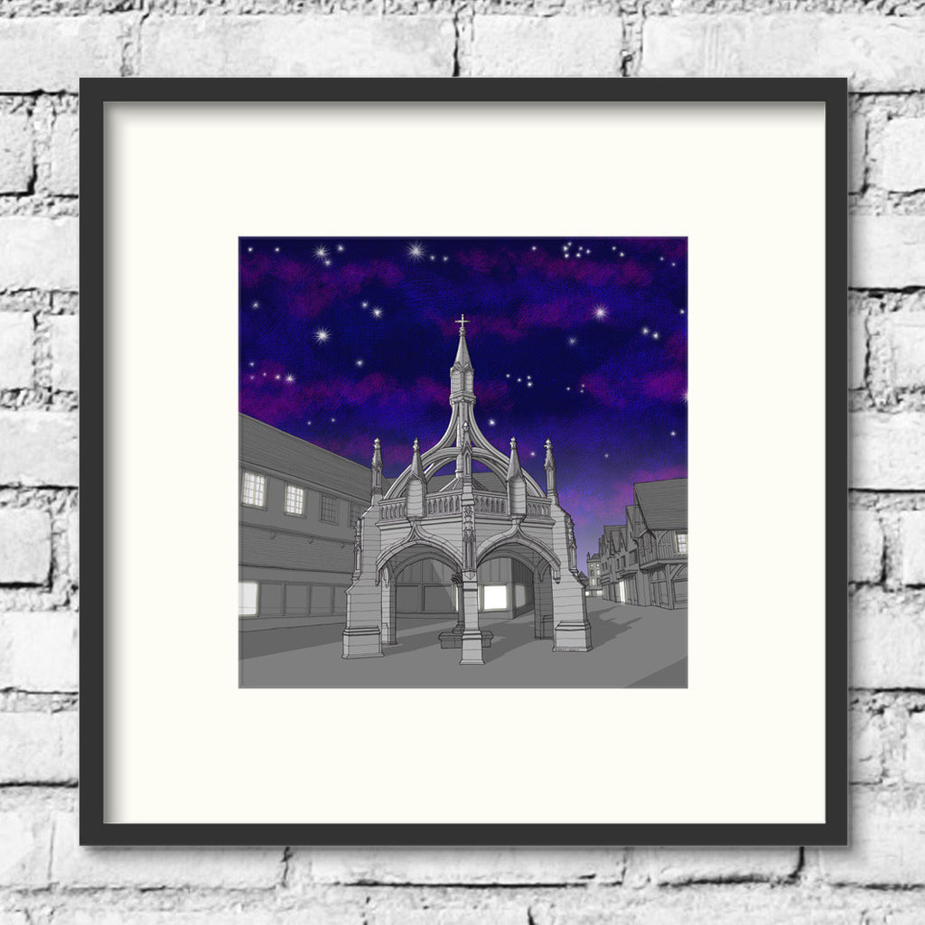 Salisbury-poultry-cross-night-art-print-illustration