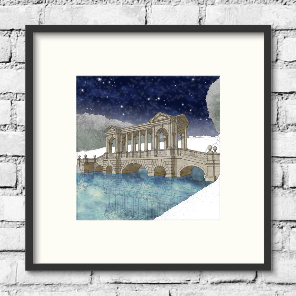 Salisbury-Wilton-House-palladian-bridge-night-art-print-illustration