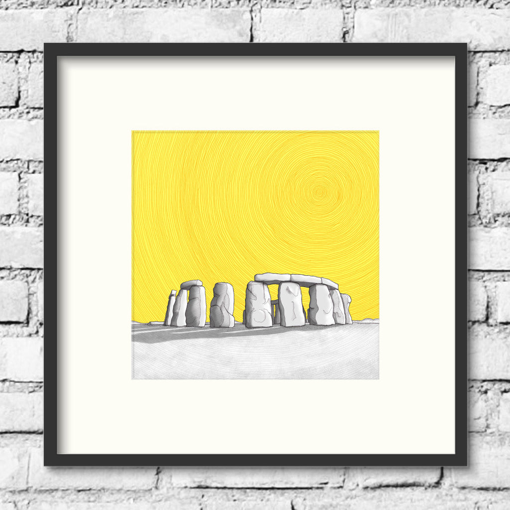 Stonehenge-gold-circles-art-print-illustration