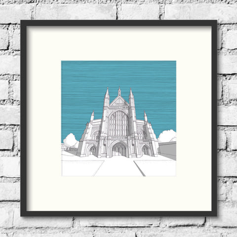 Winchester Art - Winchester Cathedral - Blue Skies