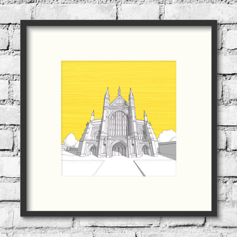 Winchester Art - Winchester Cathedral - Gold Skies