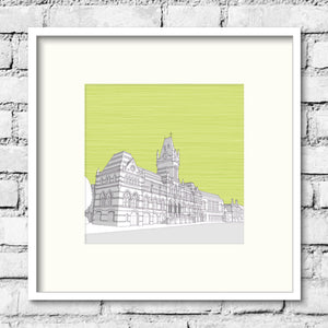 Winchester-guildhall-green-art-print-illustration
