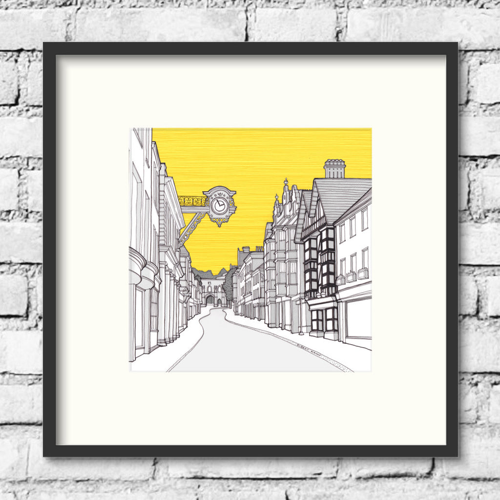 Winchester-high-street-gold-art-print-illustration
