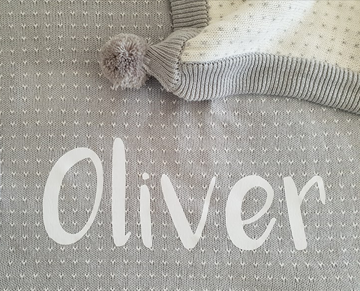 Personalised blanket custom blank with name or monogram. Cotton knit pom pom blanket. Personalised baby gift. Customised accessory