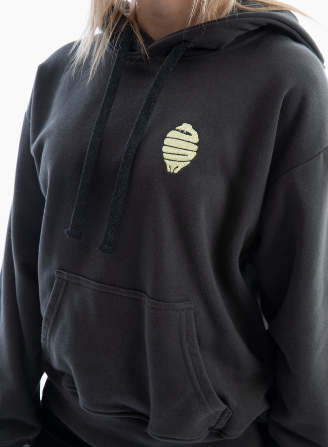 small sassy ninja charcoal/lemon yellow - hoodie