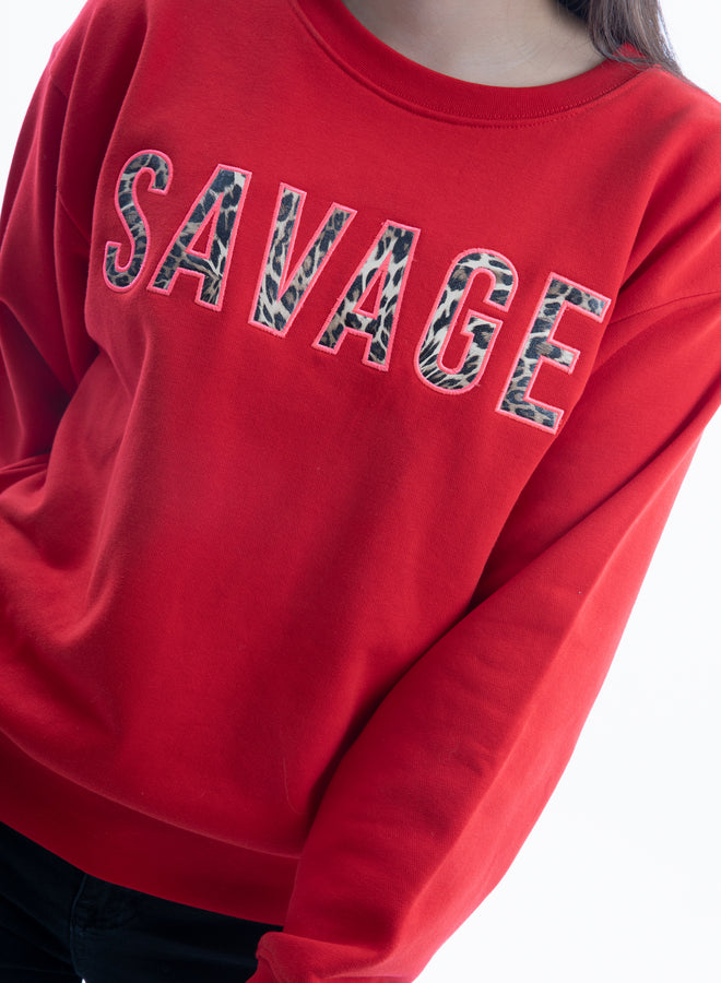 be savage, not average red/leopard/hot pink - sweater