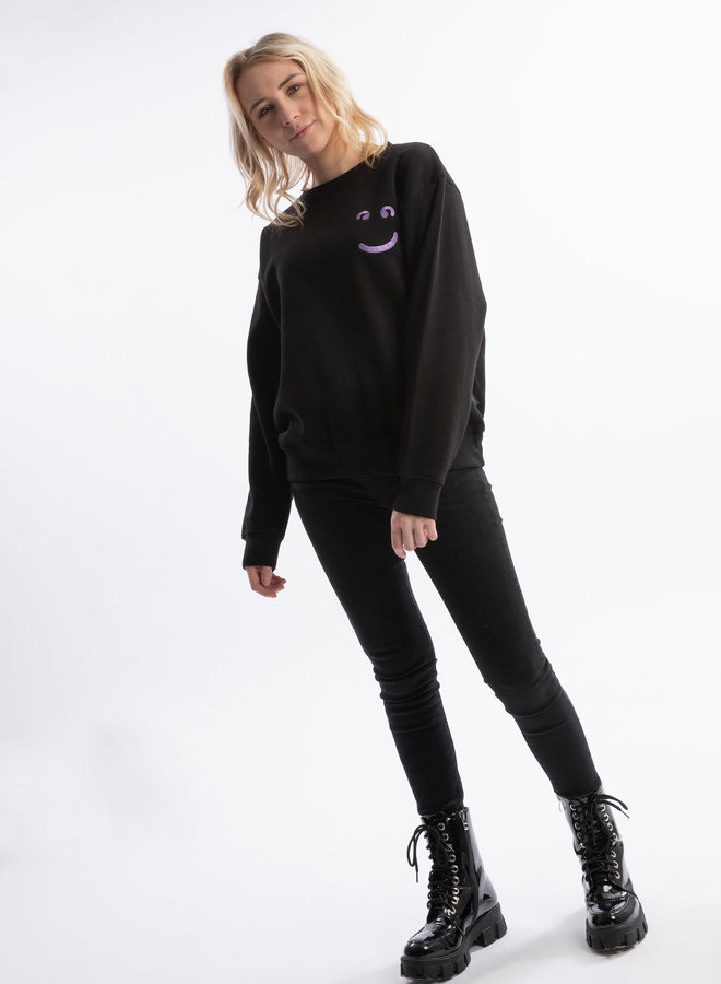 little smile black/purple acid - sweater